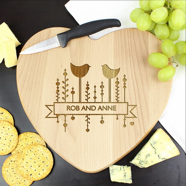 Decorative Bird Heart Chopping Board
