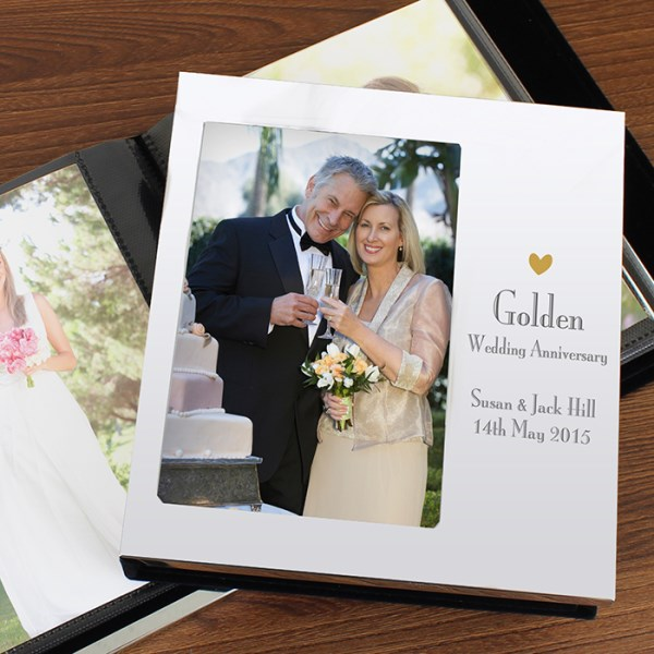 Decorative Golden Anniversary Photo Frame Album 4x6
