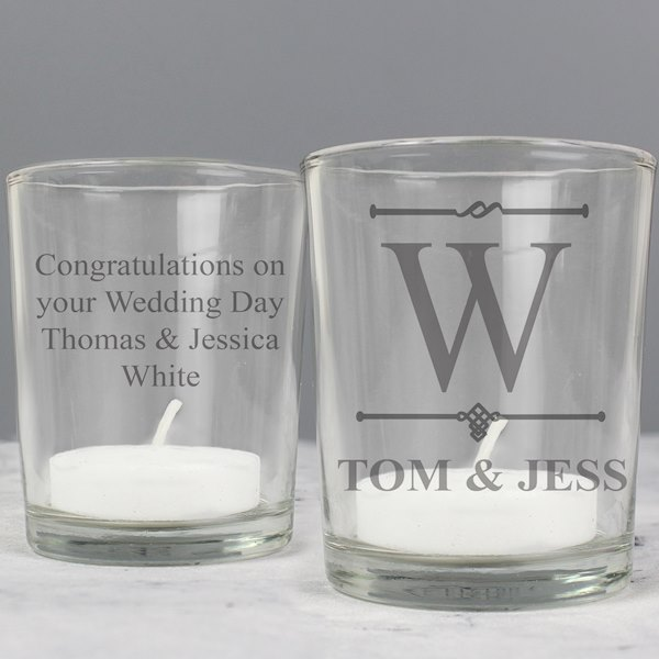 Decorative Initial Votive Candle Holder