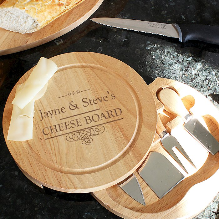 Decorative Swirl Large Cheese Board with Cheese Knives