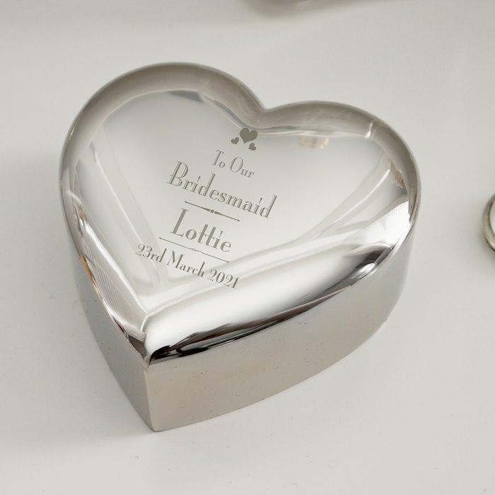 Decorative Wedding Bridesmaid Heart Trinket Box