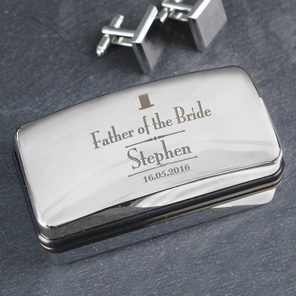 Decorative Wedding Father of the Bride Cufflink Box