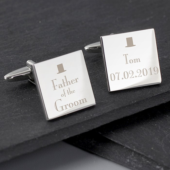 Decorative Wedding Father of the Groom Square Cufflinks