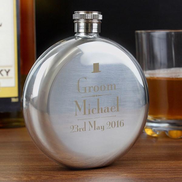 Decorative Wedding Groom Round Hip Flask