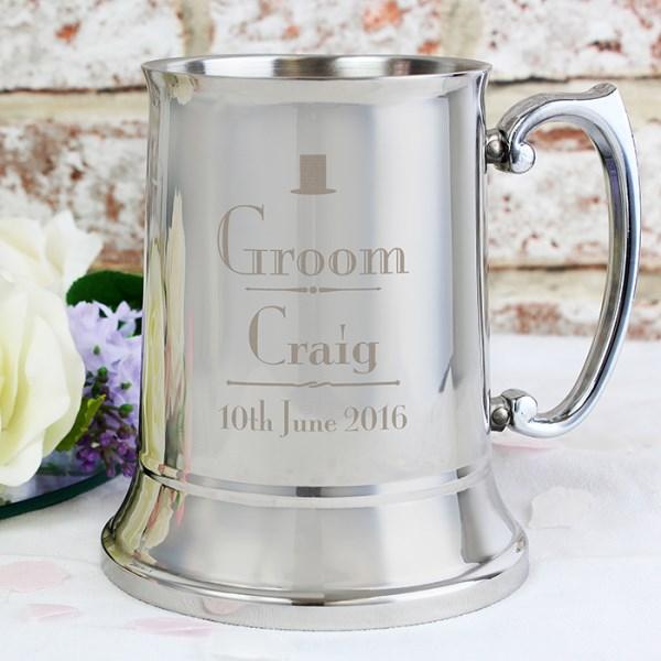 Decorative Wedding Groom Stainless Steel Tankard