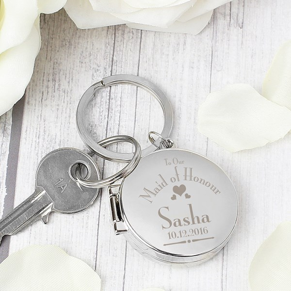 Decorative Wedding Maid of Honour Round Photo Keyring