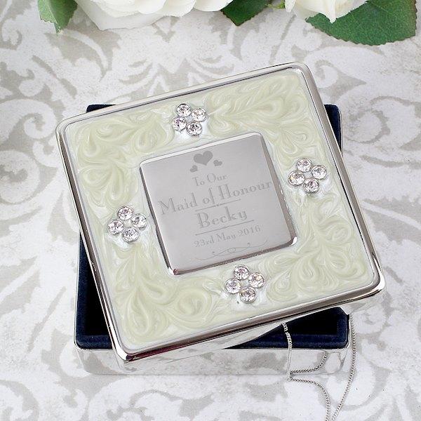 Decorative Wedding Maid of Honour Square Diamante Trinket Box