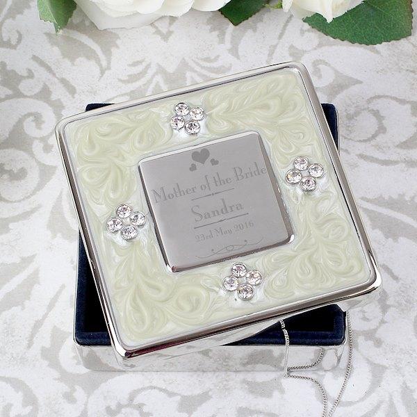 Decorative Wedding Mother of the Bride Square Diamante Trinket Box