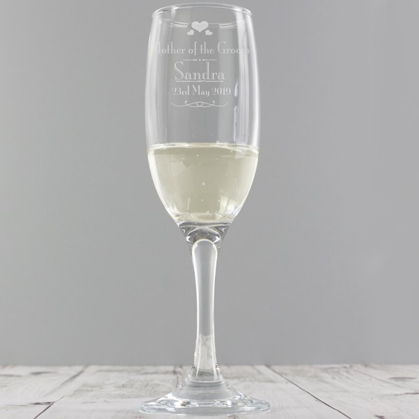 Decorative Wedding Mother of the Groom Glass Flute