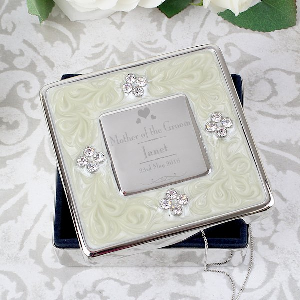 Decorative Wedding Mother of the Groom Square Diamante Trinket Box