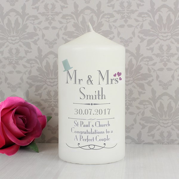 Decorative Wedding Mr & Mrs Candle