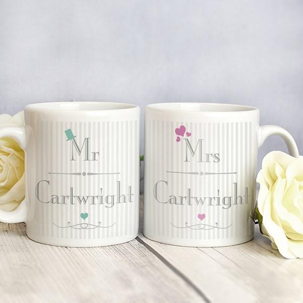 Decorative Wedding Mr & Mrs Mug Set