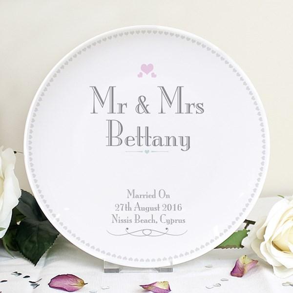 Decorative Wedding Mr & Mrs Plate