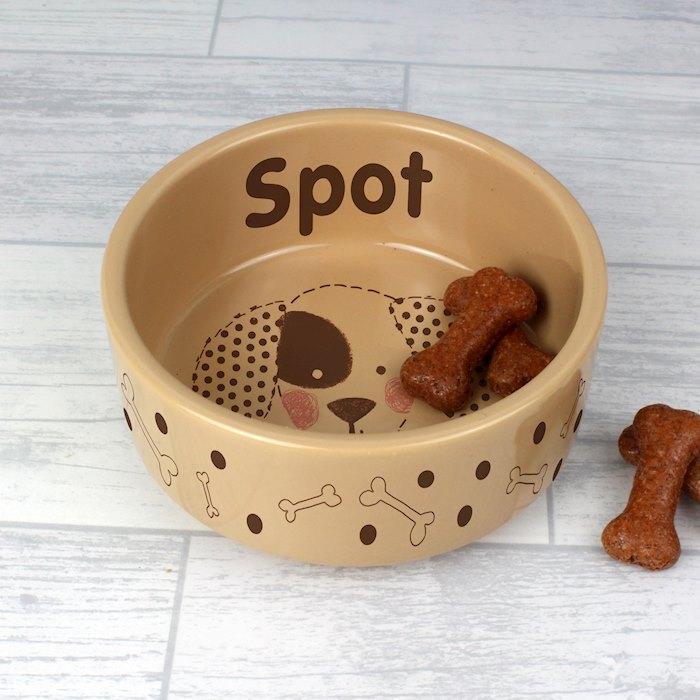 Dog Stitch Medium Brown Dog Bowl