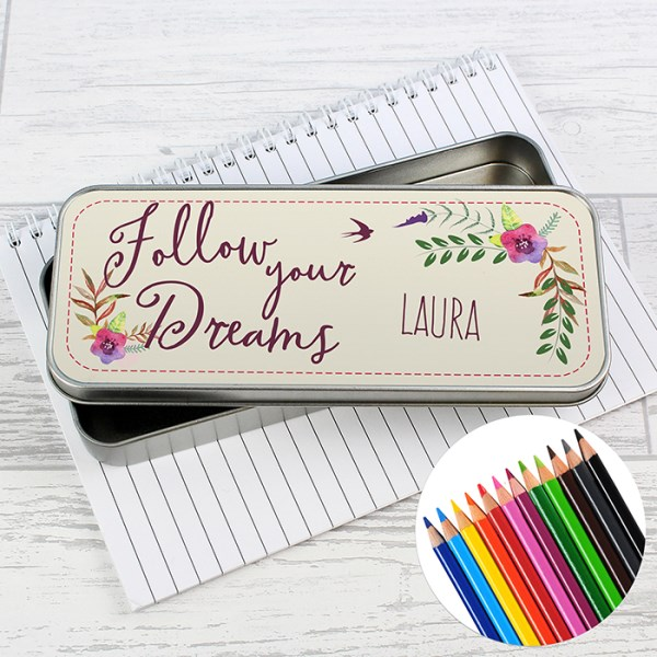 Dreams Pencil Tin with Pencil Crayons
