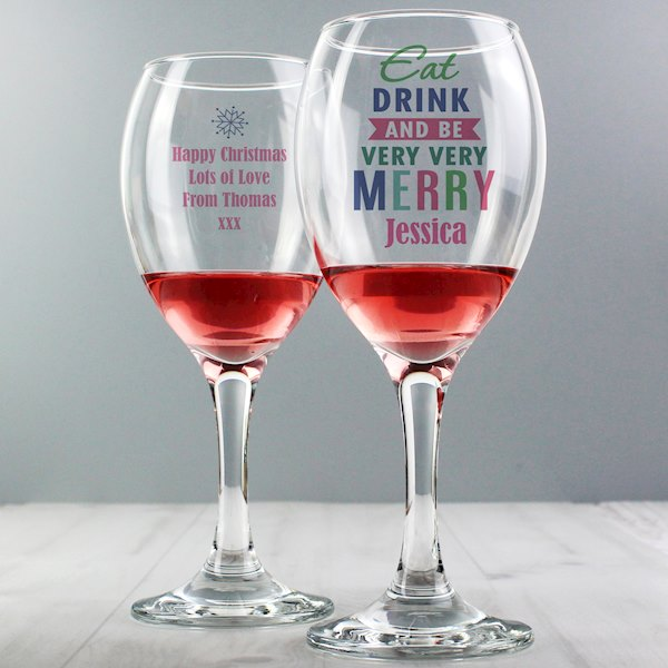 Eat Drink & Be Merry Wine Glass