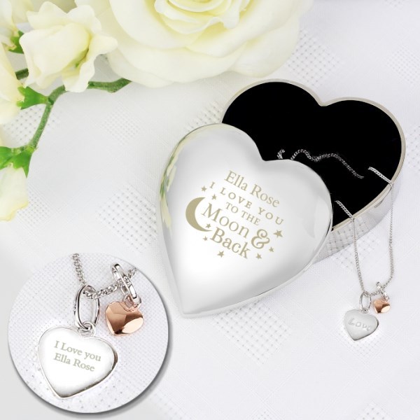 Engraved Moon and Back Heart Trinket Box & Silver Heart Pendant Gift Set