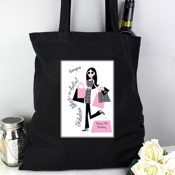 Fabulous Shopaholics Black Cotton Bag