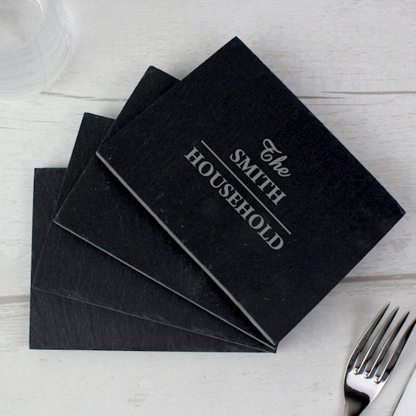 Family 4 Pack of Slate Coasters