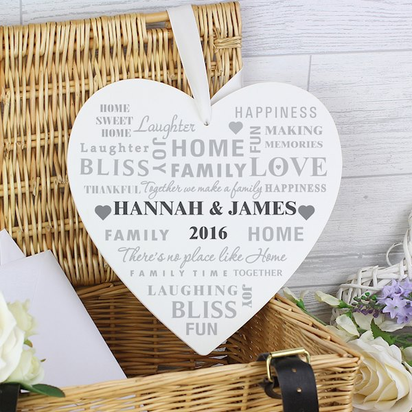 Family Typography 22cm Large Wooden Heart Decoration