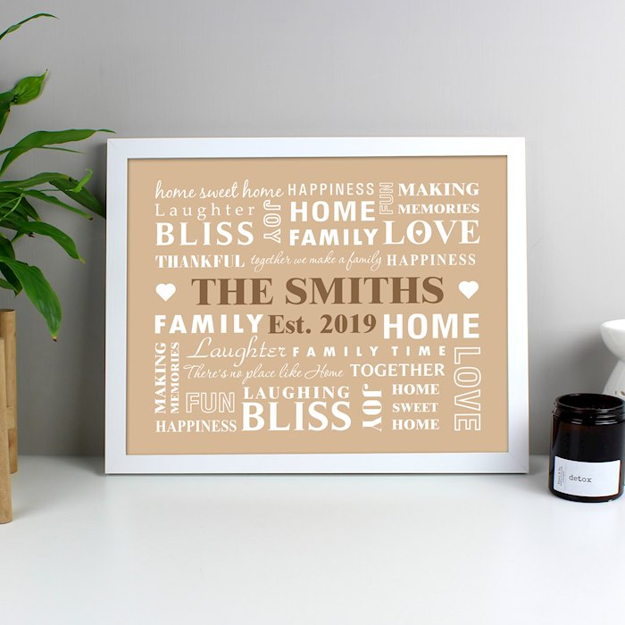 Family Typography White Framed Poster Print