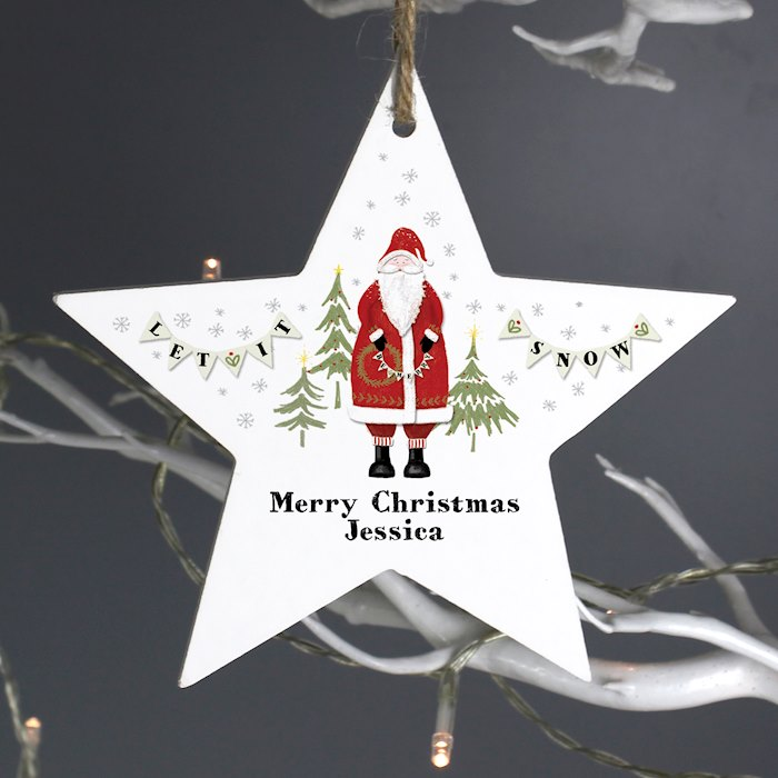 Father Christmas Wooden Star Decoration