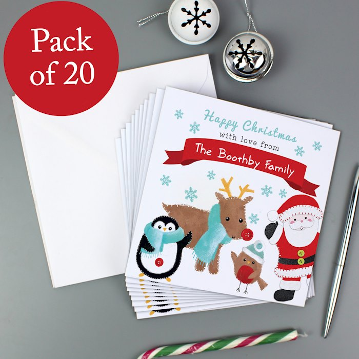 Felt Stitch Friends Pack of 20 Christmas Cards