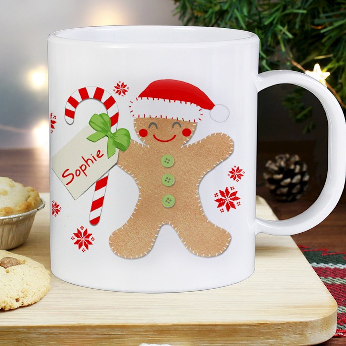 Felt Stitch Gingerbread Man Plastic Mug