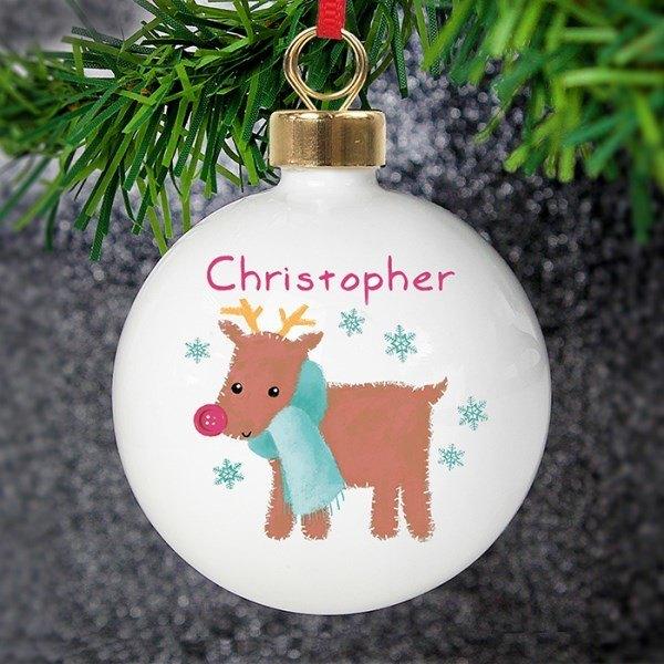 Felt Stitch Reindeer Bauble