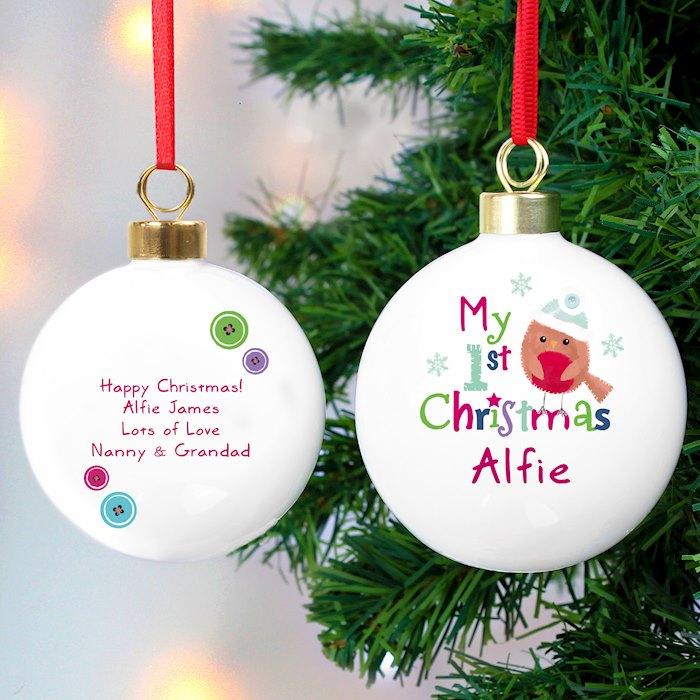 Felt Stitch Robin 'My 1st Christmas' Bauble