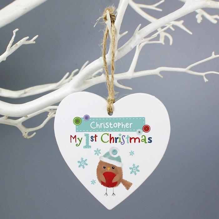 Felt Stitch Robin 'My 1st Christmas' Wooden Heart Decoration