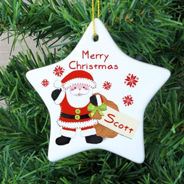 Felt Stitch Santa Ceramic Star Decoration