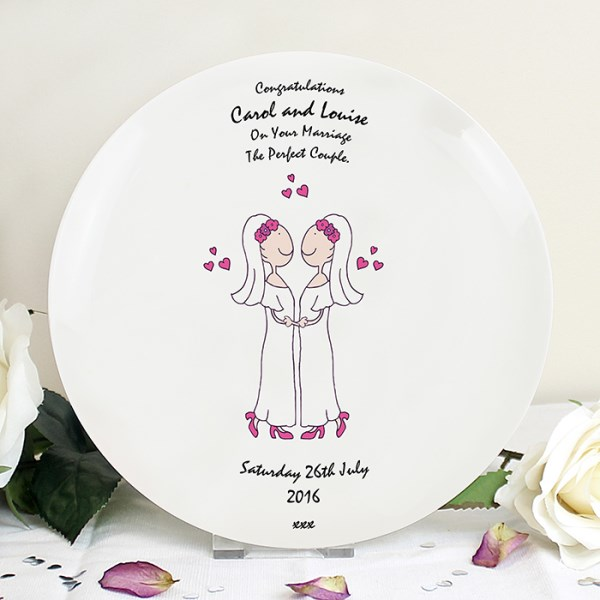 Female Same-Sex Wedding Plate