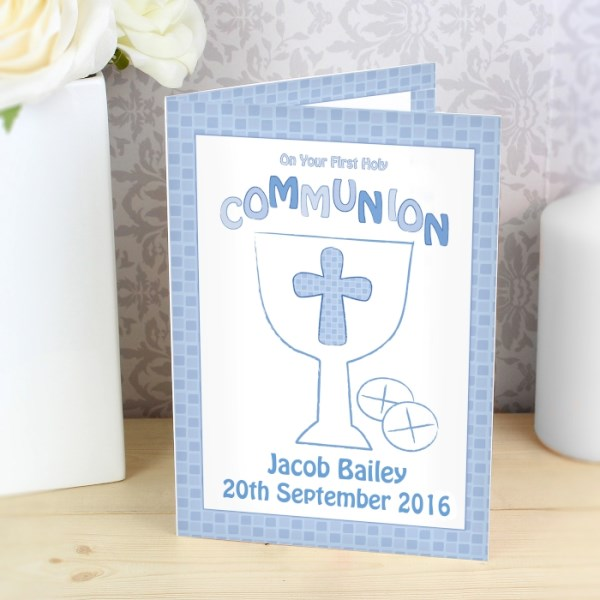 First Holy Communion Card Blue