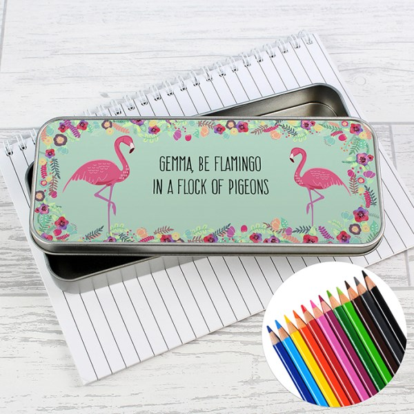 Flamingo Pencil Tin with Pencil Crayons