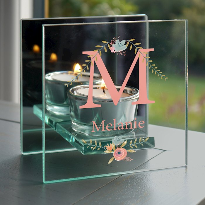 Floral Bouquet Mirrored Glass Tea Light Holder
