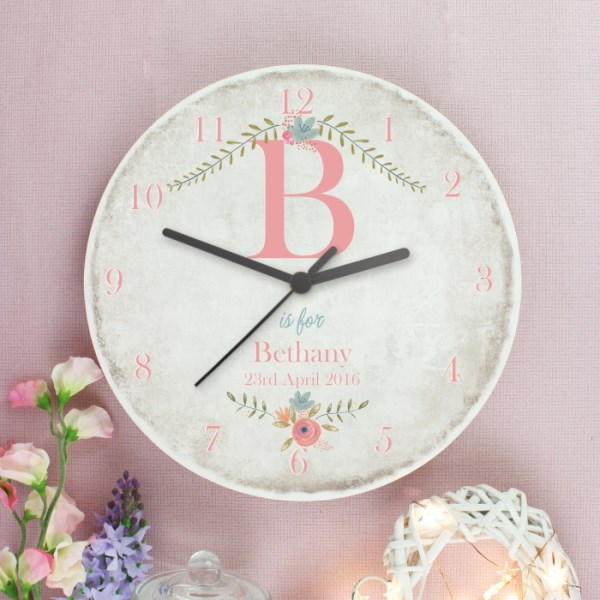 Floral Bouquet Shabby Chic Wooden Clock