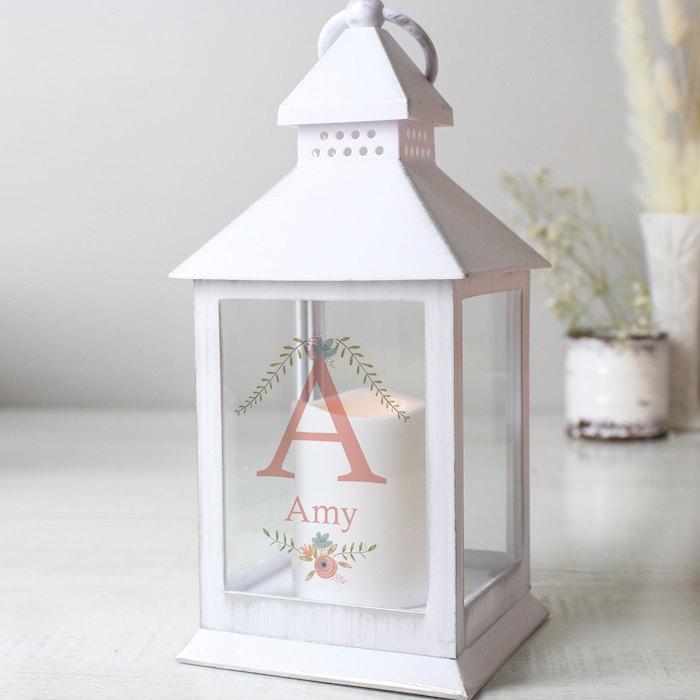 Floral Bouquet White Lantern