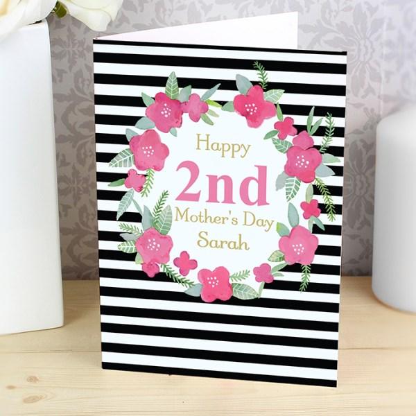 Floral Stripe Card
