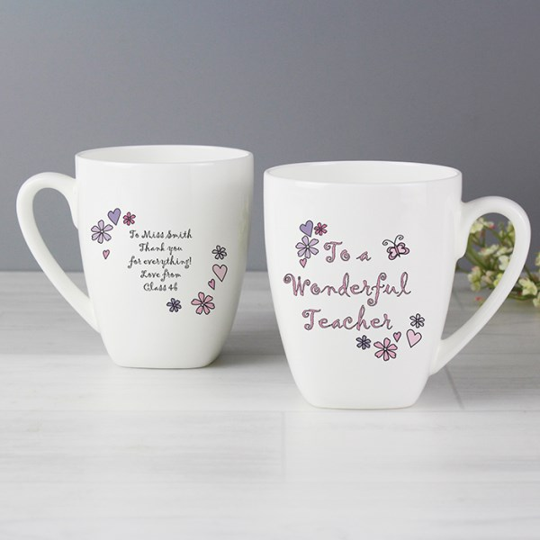Flower & Butterflies Wonderful Teacher Latte Mug