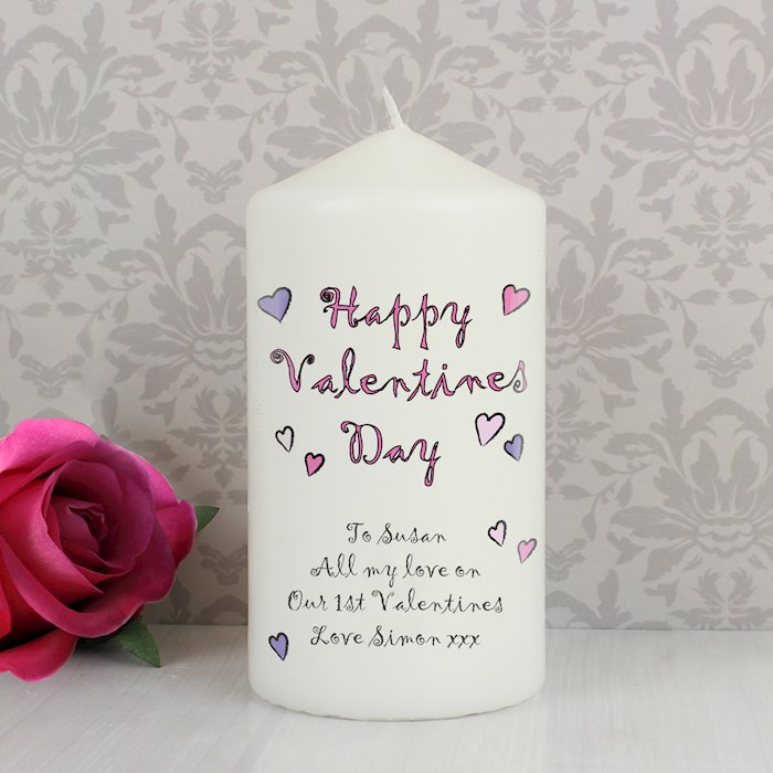 Flowers and Butterflies Happy Valentines Day Candle