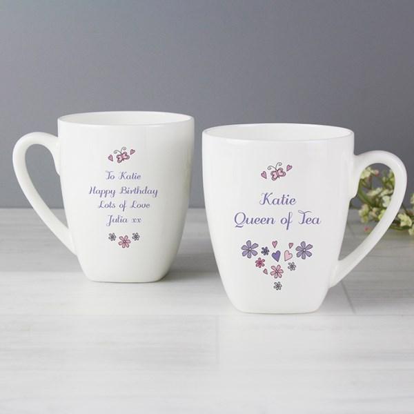 Flowers and Butterflies Latte Mug