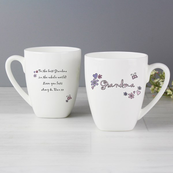 Flowers and Butterflies Name Latte Mug