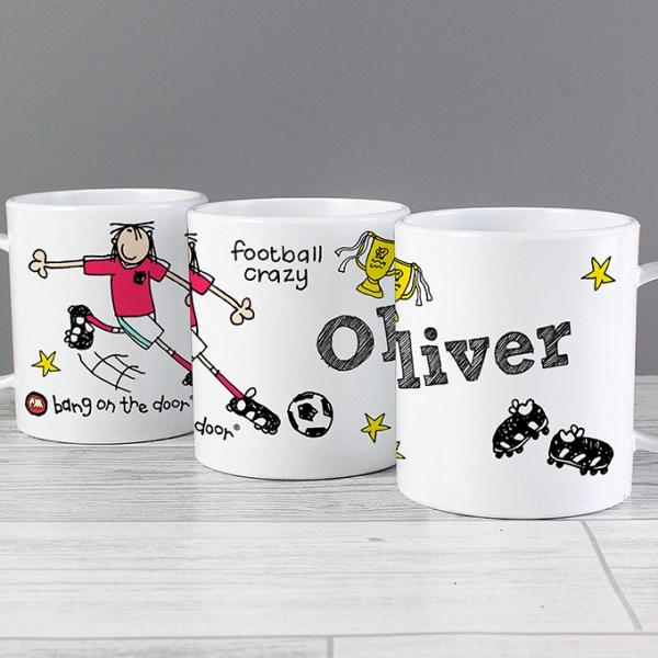 Personalised Football Crazy Plastic Mug