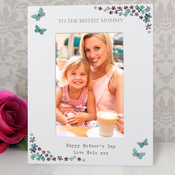 Forget Me Not 4x6 White Wooden Photo Frame