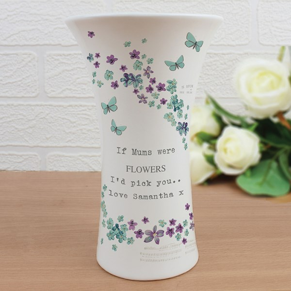 Forget me not Ceramic Waisted Small Vase