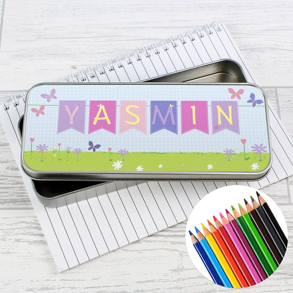 Garden Bunting Pencil Tin with Pencil Crayons