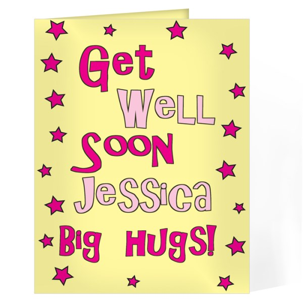 Get Well Pink Stars Card