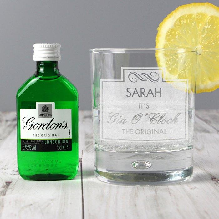 Gin O'Clock Glass & Miniature Gin Set