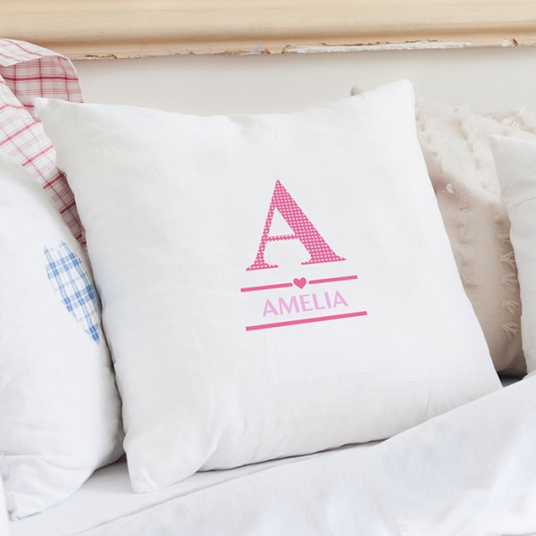 Girls Initial Cushion Cover